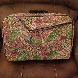 60s Vintage Paisley Tapestry Weekend Suitcase